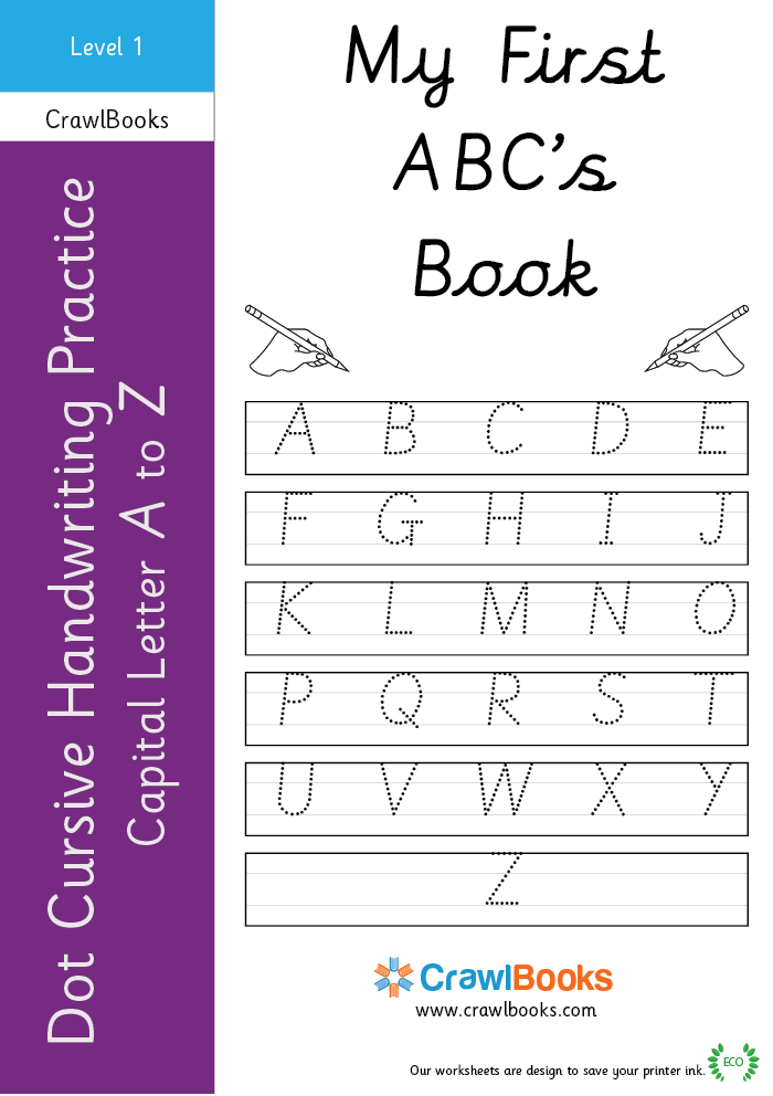 Dot cursive handwriting practice capital letter A to Z Level 1
