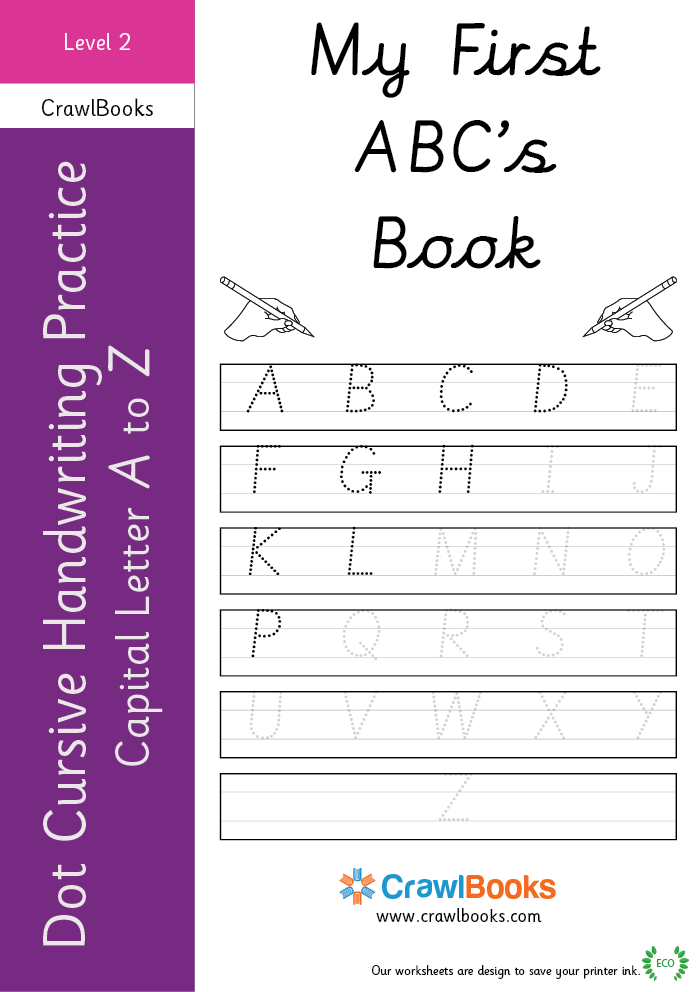 Dot cursive handwriting practice capital letter A to Z Level 2