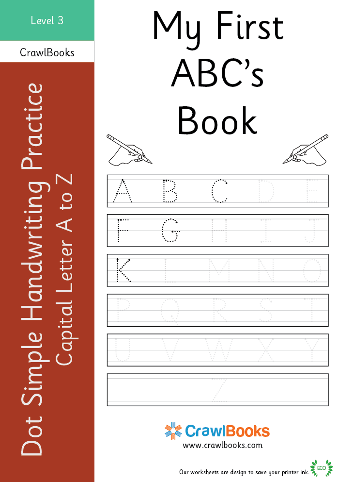 Dot simple handwriting practice capital letter A to Z Level 3
